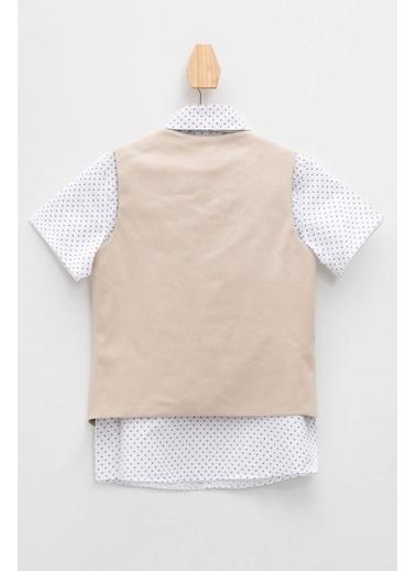 DeFacto Gömlek Yelek Papyon 3'lü Set Bej